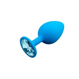 Большая голубая силиконовая пробка с голубым кристаллом - 9 см.