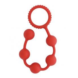 Красная анальная цепочка MENZSTUFF BUTT BEADS - 23 см.