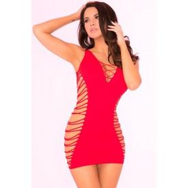 Бесшовное мини-платье с перфорацией по бокам