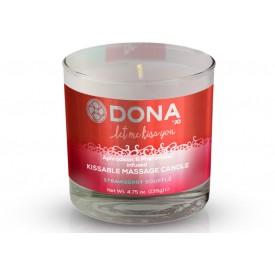 Массажная свеча DONA Strawberry Souffle с ароматом клубничного суфле - 135 гр.